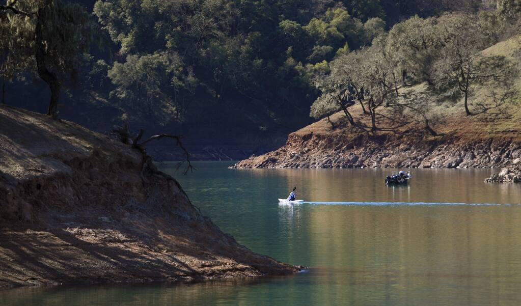 Lake Sonoma is starting to show the effects of a dry February, Tuesday Feb. 25, 2020, as more shoreline is becoming exposed. Still, the water supply capacity is at 91.4%. (Kent Porter / The Press Democrat) 2020