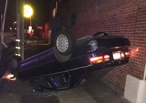 A was arrested on suspicion of DUI on Monday after crashing his Hona Civiv into a pole and building along Petaluma Boulevard North, police said.