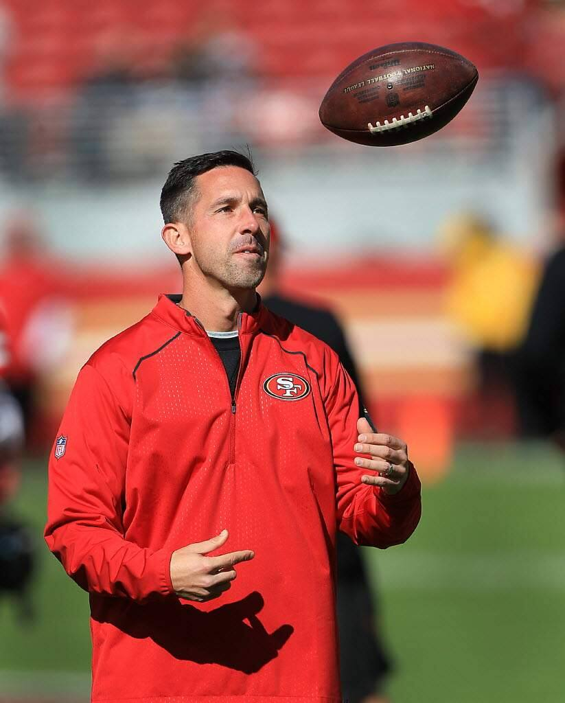 Since arriving in 2017, Kyle Shanahan has tapped into his history of signing familiar players, but he has not necessarily relied on them to build the 49ers into a Super Bowl contender. (Kent Porter / The Press Democrat, 2017)