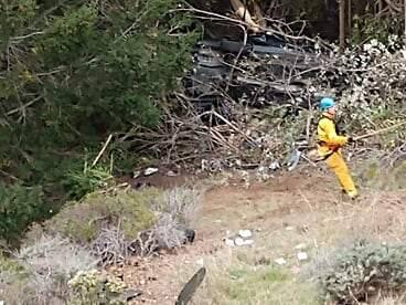 A motorist was airlifted to a hospital Sunday afternoon after his car went over an embankment and fell 200 feet off Highway 1 in Fort Ross. (PAT PATERSON)