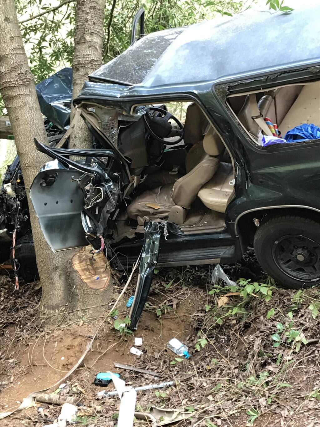 A woman was injured after crashing her vehicle into some trees off Highway 116 in Forestville on Tuesday, Feb. 20, 2018. (COURTESY OF FAVE FRANCESCHI/ FORESTVILLE FIRE PROTECTION DISTRICT)