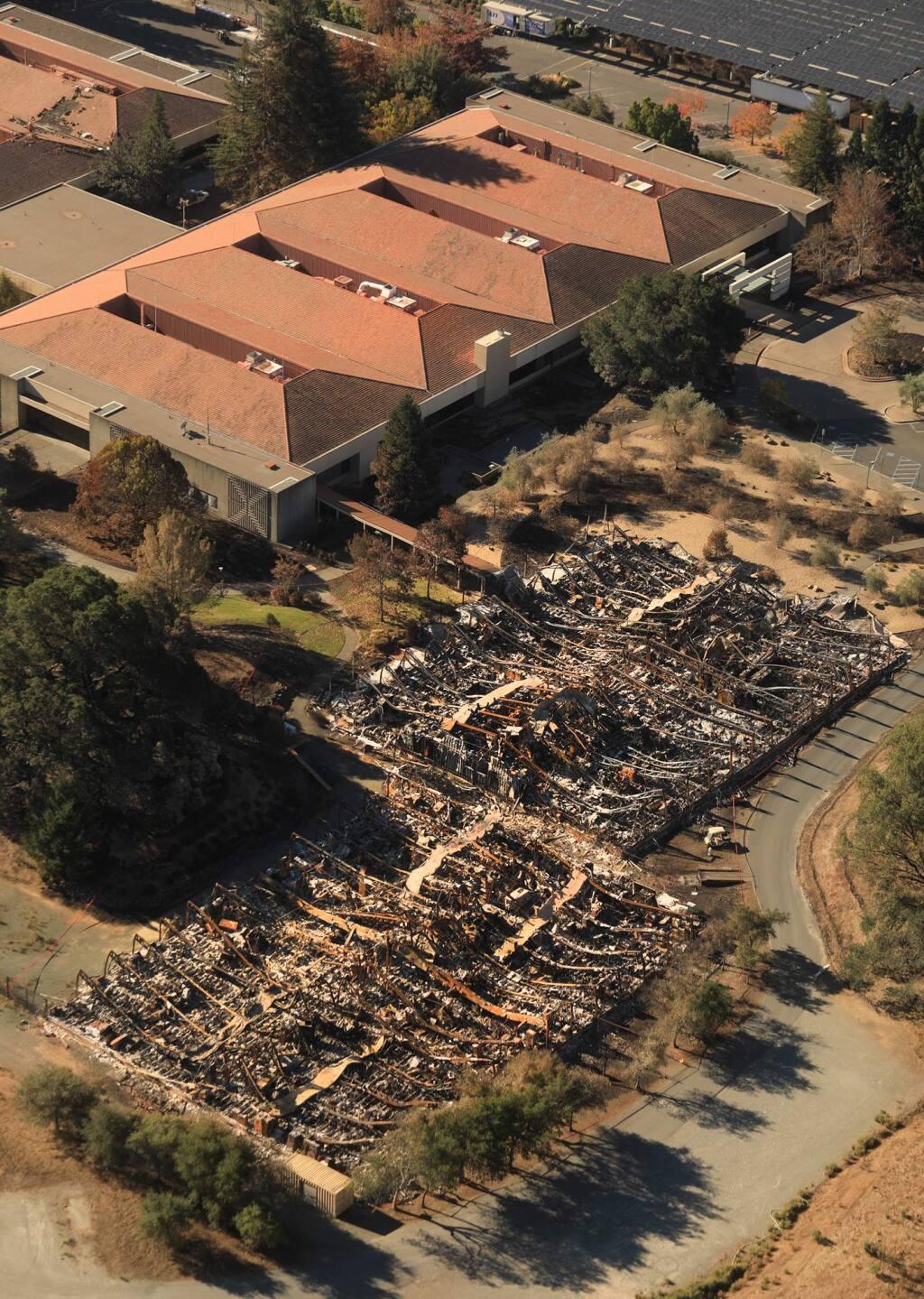 Key sight Technologies damage from the Tubbs fire in Santa Rosa, Wednesday Oct. 25, 2017. (Kent Porter / Press Democrat) 2017