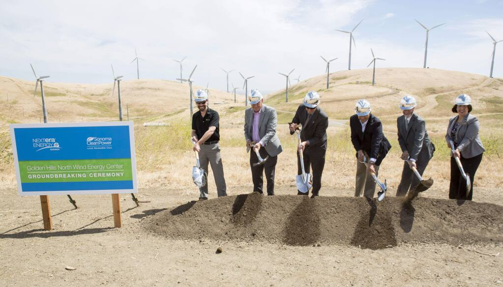 On May 24, 2017, in Tracy, Calif., state and local officials joined executives from NextEra Energy Resources and Sonoma Clean Power to launch construction of the Golden Hills Wind Energy Center. (NextEra Energy Resources)