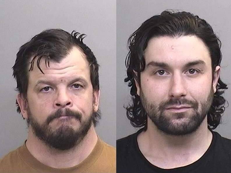 Joseph Loren, 36, of Willits (left), and Joseph Scorese, 30, of Lakeport. (MENDOCINO COUNTY SHERIFF DEPT.)