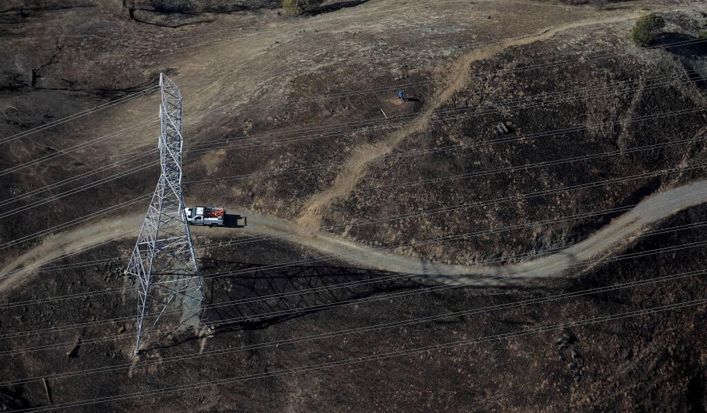 The path of the Kincade fire, Monday, Nov. 4, 2019. (Kent Porter / The Press Democrat) 2019