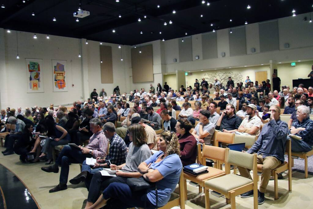 More than 200 attended a public workshop for county cannabis land use regulations at the Glaser Center in Santa Rosa on Thursday, Oct. 6, 2016. (HEATHER IRWIN/ PD)