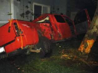 A 22-year-old man suspected of driving under the influence crashed near a Rohnert Park apartment complex early Wednesday, Feb. 22, 2017. (COURTESY OF ROHNERT POLICE POLICE)