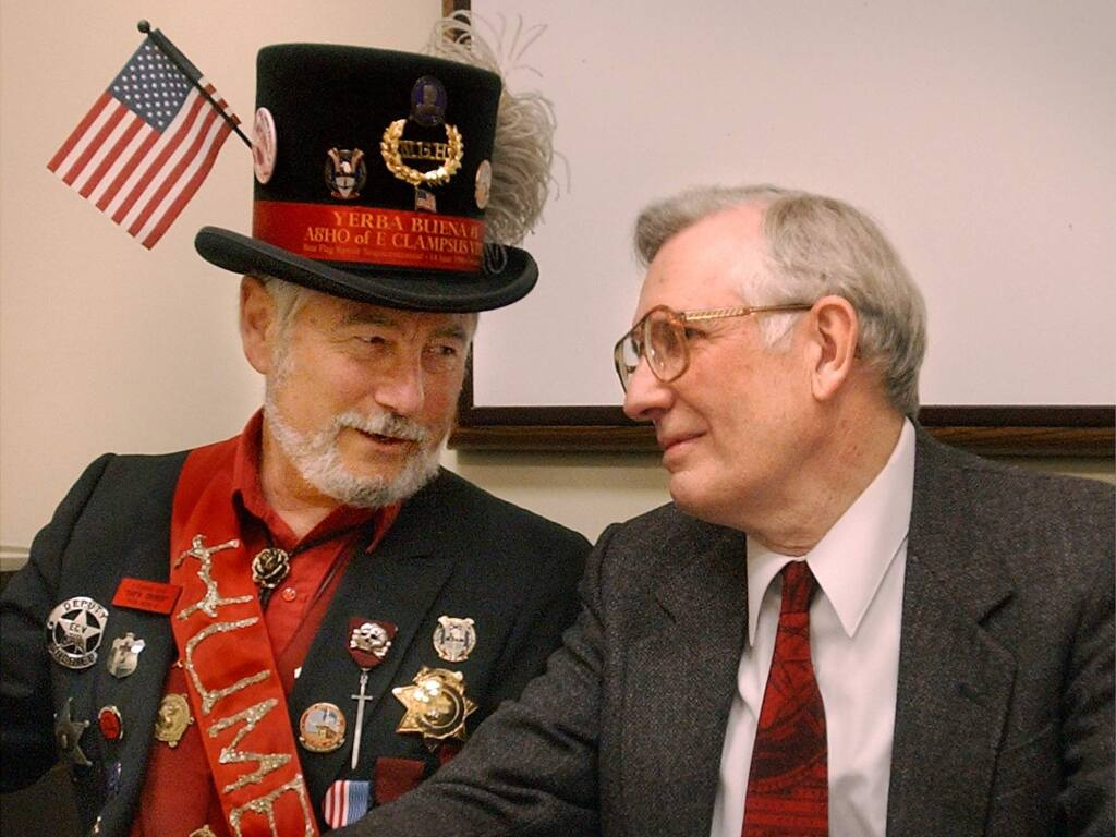 Researcher Edward Von der Porten, right, and Rick Saber, left, costumed member of E Clampus Vitus. (PD FILE)