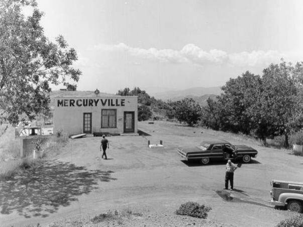 In 1874,  miners settled in an area in northeastern Sonoma County, founding Mercuryville. The hamlet sprang up in the midst of a quicksilver rush, which died out when mercury prices dropped. In this photo, the main building in Mercuryville in 1966. (Sonoma County Library)