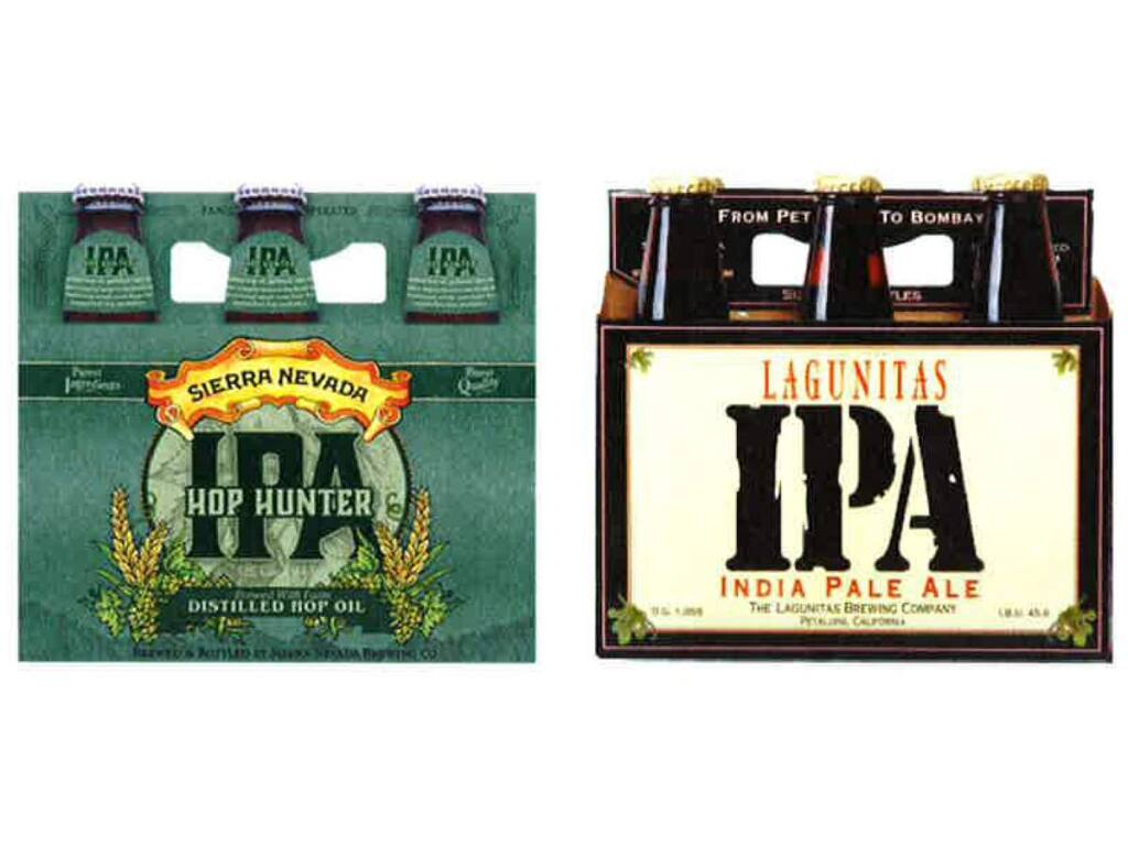 Petaluma-based Lagunitas Brewing Co. has sued rival Sierra Nevada Brewing Co., alleging the Chico-based brewery's new Hop Hunter IPA label infringes upon Lagunitas trademarks. The Sierra Nevada Hop Hunter six-pack is at left, while the Lagunitas six-pack is at right. (Photo taken from court documents.)