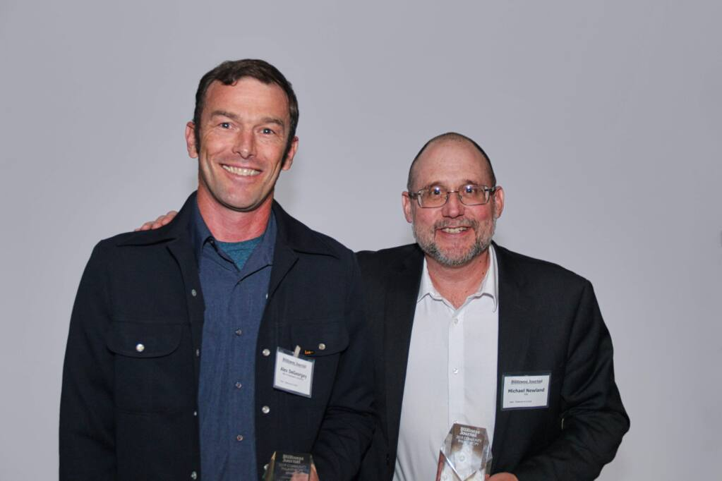 ESA's Alex DeGeorgey and Michael Newland, winners of one of North Bay Business Journal's Community Philanthropy Awards, presented on Friday, April 26, 2019, at Hyatt Regency Sonoma Wine Country hotel in Santa Rosa. (ANTHONY BORDERS / NORTH BAY BUSINESS JOURNAL)