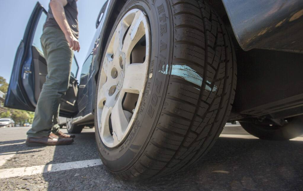 A chalked tire on West Napa St. (Photo by Robbi Pengelly/Index-Tribune)