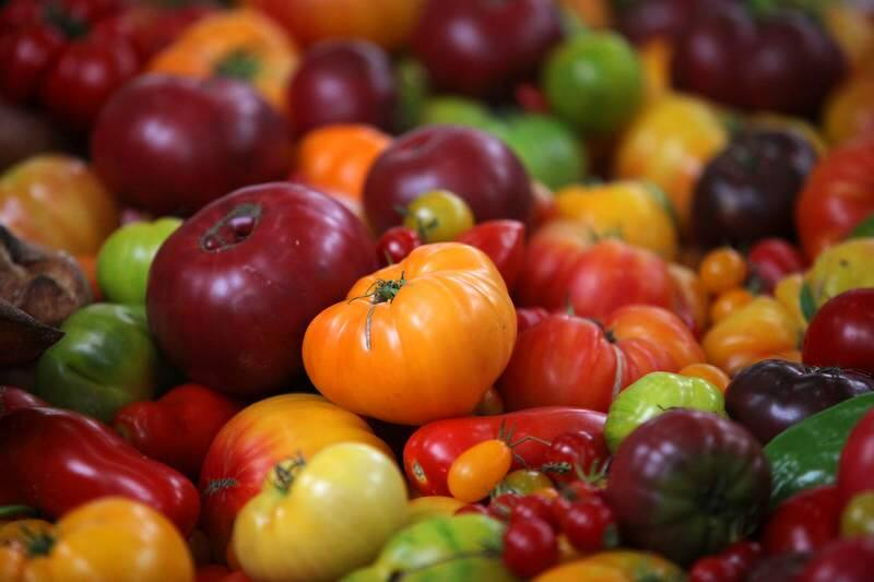 Colorful tomatoes from Soda Rock Farms on display during the National Heirloom Exposition in 2011. (The Press Democrat)