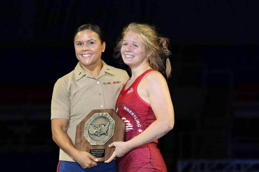 El Molino wrestler Hannah Ricioli, right, won the 152-pound national title at a U.S. Marine Corps junior tournament in 2019. (John Sachs)