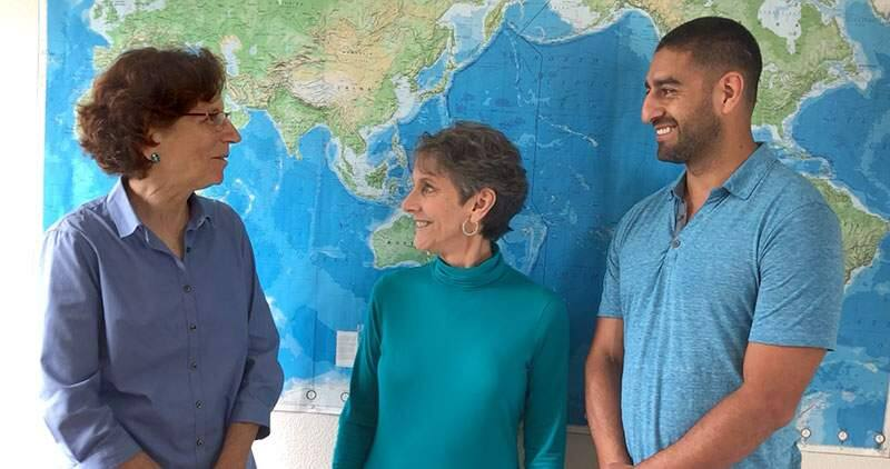 Ellie Cohen, left, is the new CEO of the Santa Rosa-based Center for Climate Protection, effective Sept. 1, 2019. With her in this Aug. 5, 2019, photo are Ann Hancock, executive director and co-founder, and Efren Carrillo, board president. (COURTESY PHOTO)