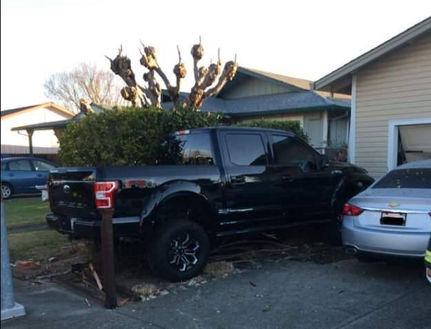 A Windsor man was suspected of drunken driving after crashing into a parked car and a garage on Binggelli Drive in Windsor on Sunday, Nov. 24, 2019, according to authorities. (WINDSOR POLICE DEPARTMENT/ FACEBOOK)