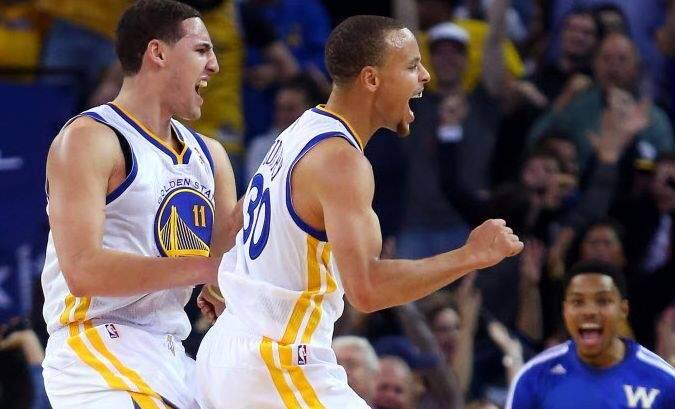 Warriors teammates Klay Thompson, left, and Steph Curry on Thursday were named to the All-NBA team, with Curry a first-team selection and Thompson receiving third-team recognition. It marked the first time the Warriors had teammate earn All-NBA honors since Chris Mullin (first team) and Tim Hardaway (second) in 1991-92. (Christopher Chung / The Press Democrat)