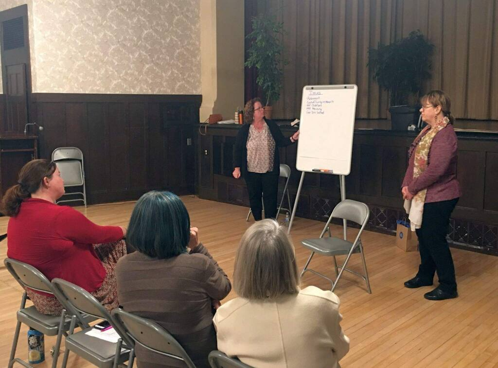 Jenny Whyte (top left) and Trisha Almond conduct a Voices of Sonoma County Women listening session at the Petaluma Woman's Club on March 14, 2019. (SONOMA COUNTY COMMISSION ON THE STATUS OF WOMEN FACEBOOK)