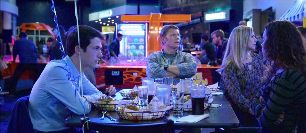 From left: Clay (Dylan Minnette), Mark Pellegrino and Meredith Monroe as Alex's parents, and Jessica (Alisha Boe) in a scene from the Netflix series '13 Reasons Why,' filmed at the Epicenter Sports & Entertainment center in Santa Rosa. (COURTESY OF LISA ALEXANDER/ EPICENTER SPORTS & ENTERTAINMENT)