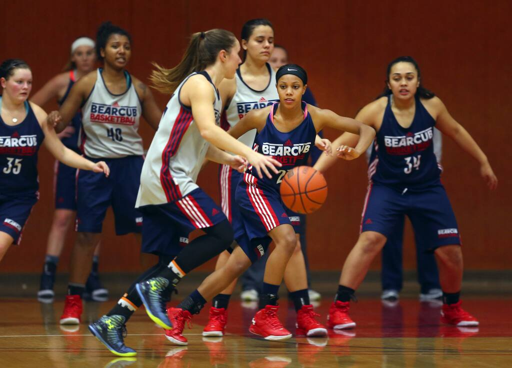 The SRJC women's basketball team practiced on Tuesday. (JOHN BURGESS / The Press Democrat)