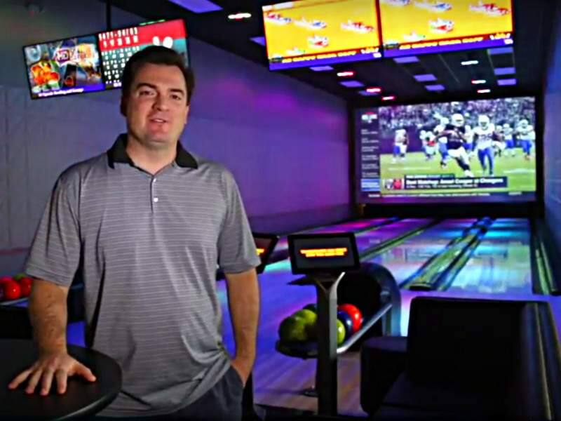 Screen capture of a video interview with Joe Lordeaux, vice president of development for The Epicenter, on Dec. 15, 2016, at the west Santa Rosa sports and entertainment complex. He is explaining the four private lanes of the 16-lane 7Ten Social bowling center in the facility. (JEFF QUACKENBUSH / NORTH BAY BUSINESS JOURNAL)