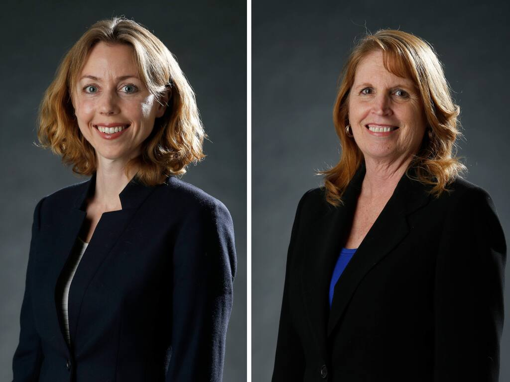 Lynda Hopkins, left, and Noreen Evans, candidates for 5th District Supervisor of Sonoma County in Santa Rosa, California on Tuesday, March 22, 2016. (Alvin Jornada / The Press Democrat)