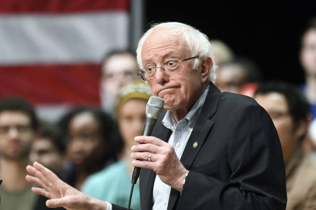 Democratic presidential candidate U.S. Sen. Bernie Sanders, I-Vt., gestures during a rally at Belk Theater at Blumenthal Performing Arts in Charlotte, N.C., Friday, Feb. 14, 2020. (David Foster III/The Charlotte Observer via AP)