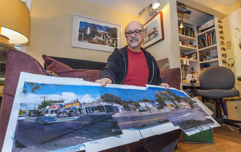 Mike Acker with one of his art pieces. (Photos by Robbi Pengelly/Index-Tribune)