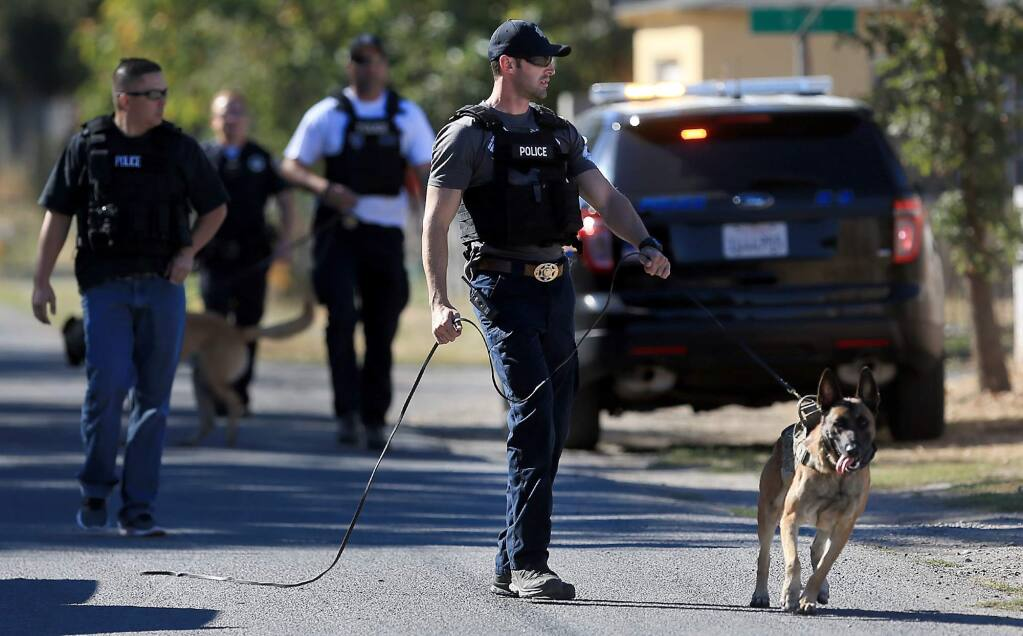 Sonoma County Sheriffs deputies, the CHP and Sonoma Police responded to a domestic violence situation on Thursday, April 16, in El Verano. Among the forces deployed were the K9 unit, a drone, and the county Henry 1 helicopter. The suspect was located and arrested. (Kent Porter / The Press Democrat)