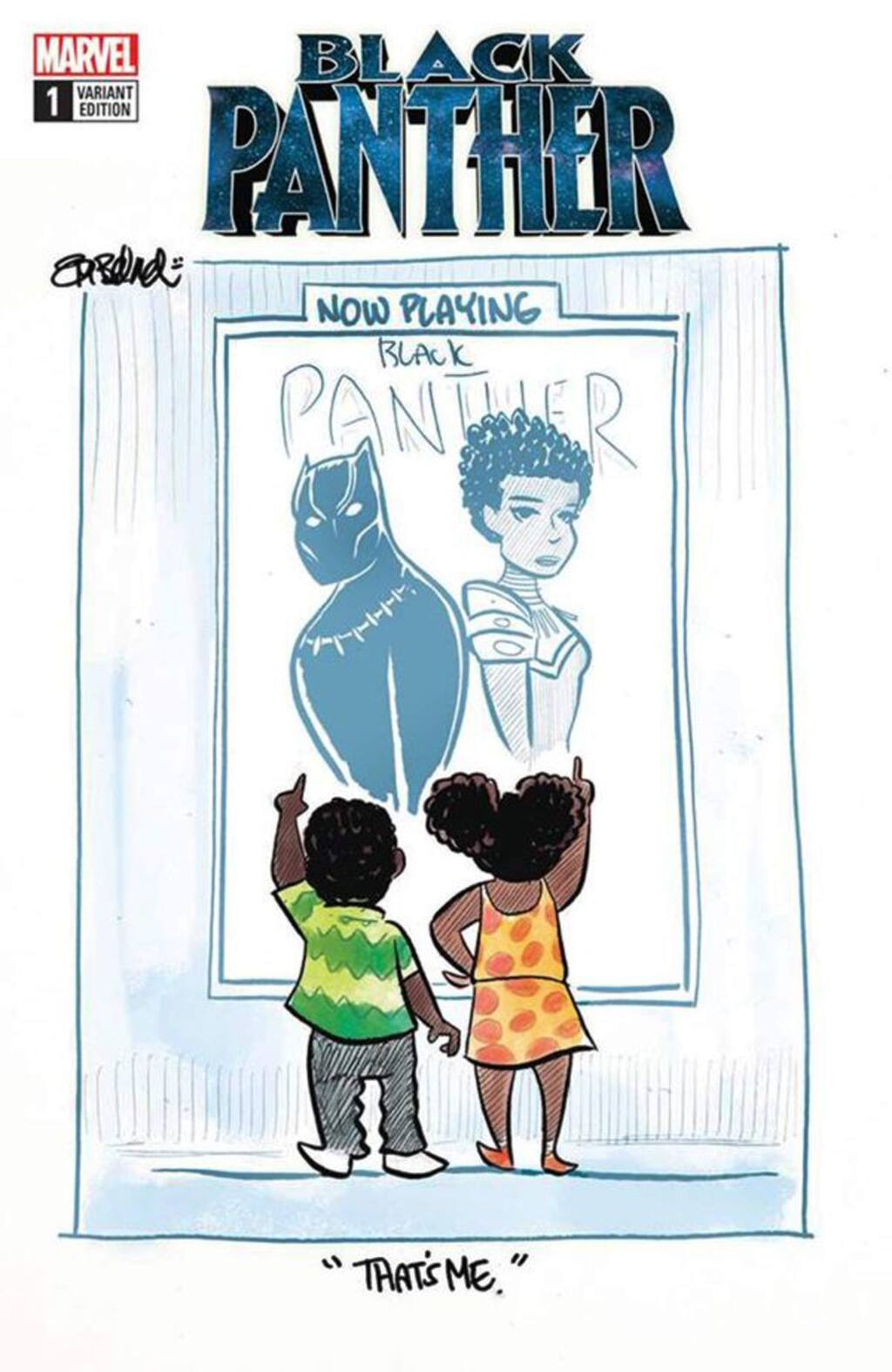 Cartoonist Tom Beland posted this cartoon on the release of 'Black Panther,' focusing on the self-identification aspects of the movie and the importance of representation. (comicsbeat.com)