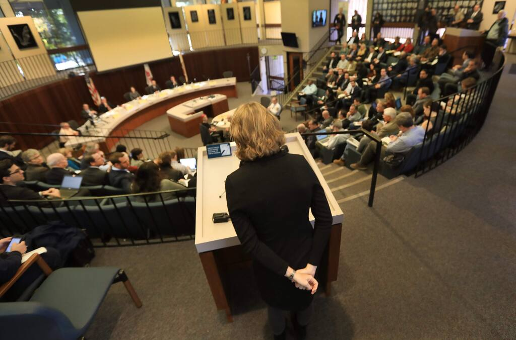 Sonoma County Supervisor Lynda Hopkins of the Fifth District makes a statement during a public comment at a senate subcommittee hearing titled 'California Burning: Utility Wildfire Prevention and Response,' Friday, Jan. 26, 2018 in Santa Rosa City Council chambers. (Kent Porter / Press Democrat) 2018