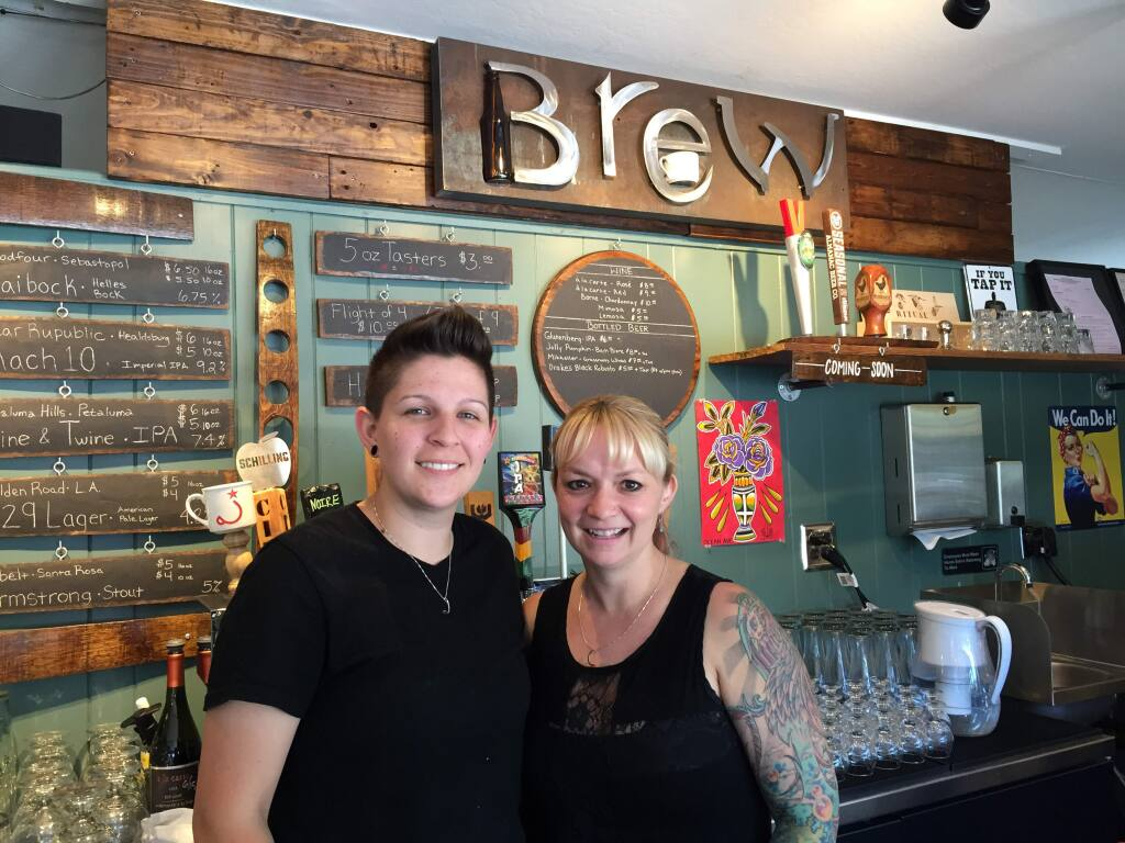Brew: Jessica Borrayo, left, and Alisse Cottle, owners of Brew Coffee and Beer on 555 Healdsburg Ave. in Santa Rosa in the old location of the Donut Hut. (BREW COUNTRY / The Press Democrat)