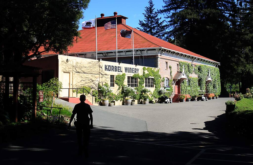 A security guard patrols the grounds at Korbel Champagne Cellars in Guerneville on Monday, April 25, 2016. (KENT PORTER/ PD)
