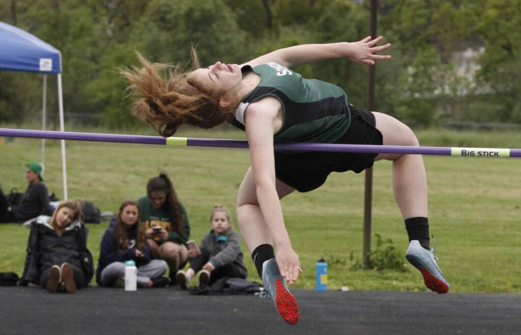 Bill Hoban/Index-TribuneSonoma's Kasia Jacobson high jumps during Wednesday's three-way meet with Sonoma, Healdsburg and Petaluma. Jacobson won the high jump.