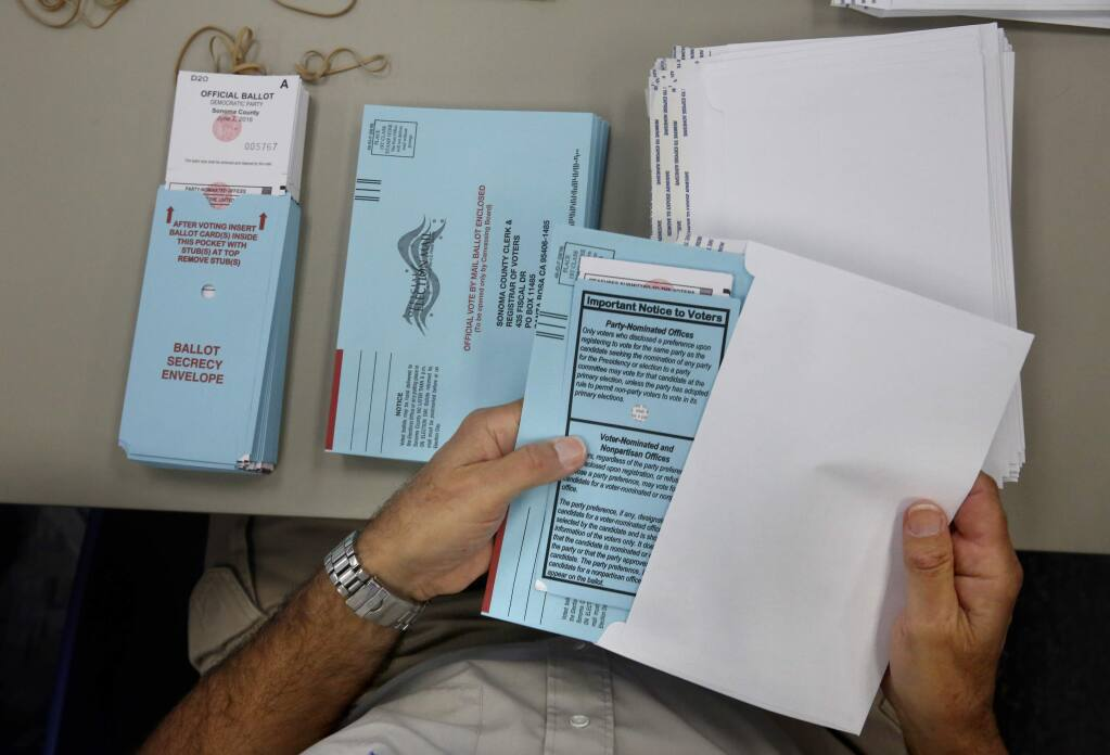 All California counties are authorized to switch from neighborhood polling stations to mail-only elections by 2020. (BETH SCHLANKER/ The Press Democrat)