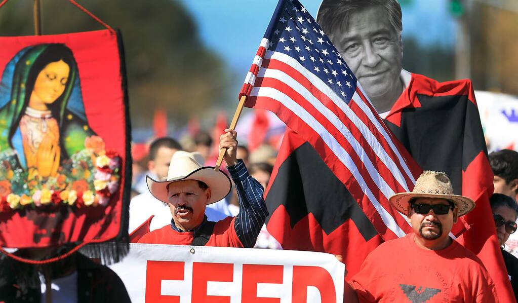 The annual Cesar Chavez/UFW march in Santa Rosa, Sunday April 2, 2017 on Sebastopol Road. (Kent Porter / The Press Democrat) 2017
