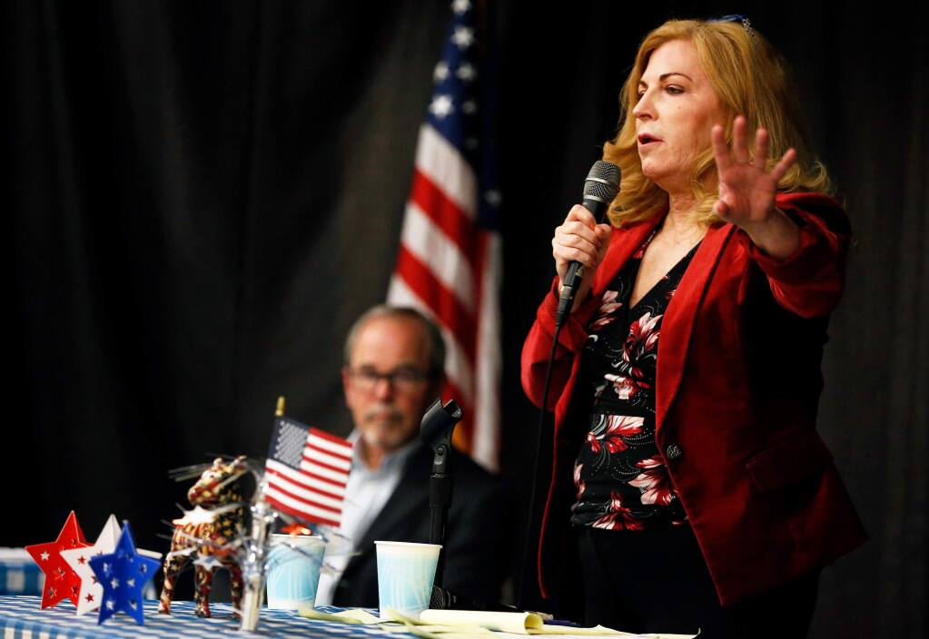 Incumbent Sonoma County District 3 supervisor Shirlee Zane speaks during a debate with challenger former Santa Rosa mayor Chris Coursey at Veterans Memorial Hall in Santa Rosa, California, on Wednesday, January 22, 2020. (Alvin Jornada / The Press Democrat)