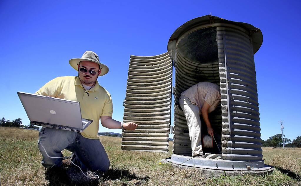 Sonoma County Water Agency employees monitoring a water well in Santa Rosa. File photo. (Kent Porter / Press Democrat)