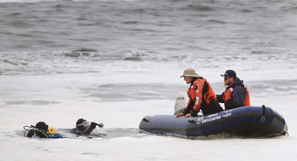 Divers from NOAA finish up an exploration of Fort Ross Cove as they look for remnants of a seaport, Tuesday Aug. 2, 2016 in Fort Ross. (Kent Porter / Press Democrat) 2016