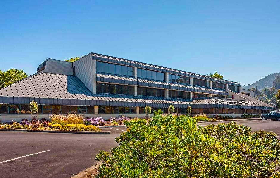 The 114,000-square-foot, two-building Harbor Drive office complex in Sausalito sells to a $250 million real estate fund in February 2016. (courtesy of Roseview-PMRG Fund I)
