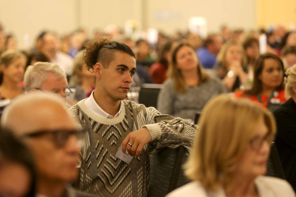 SSU student Cooper Chavez attends Los Cien's annual State of the Latino Community breakfast at the Student Center on the Sonoma State University campus in Rohnert Park on Thursday, September 26, 2019. (BETH SCHLANKER/ The Press Democrat)