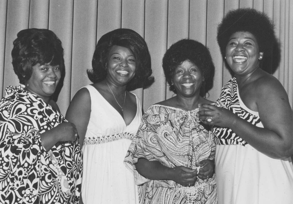Alice Gray, third from the left, and her three daughters at the Black & White Ball sponsored by the Negro Business and Professional Women's Club, Inc. in the 1970s. From left, Dorothy Gray, Ida M. Johnson, Alice Gray and Ann Gray Byrd. (Sonoma County Library)