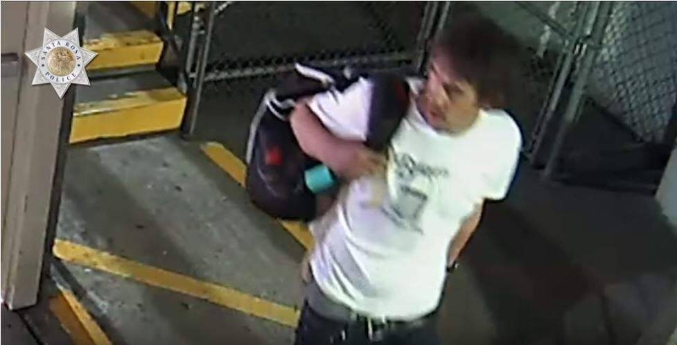 Santa Rosa police are searching for this man, who they suspect of stealing a backpack that contained the victim's thesis from a parking garage at 555 First Avenue. Anyone with information is asked to call 707-528-5222. (Santa Rosa Police Department/YouTube)