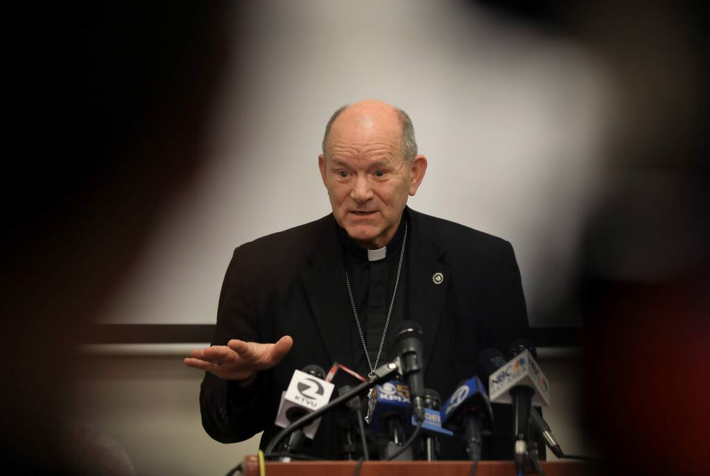 Bishop Robert F. Vasa answers questions from press, television and radio outlets, Monday, January 14, 2019 pertaining to a list of priests and deacons accused of abuse, released of January 12. (Kent Porter / Press Democrat) 2019