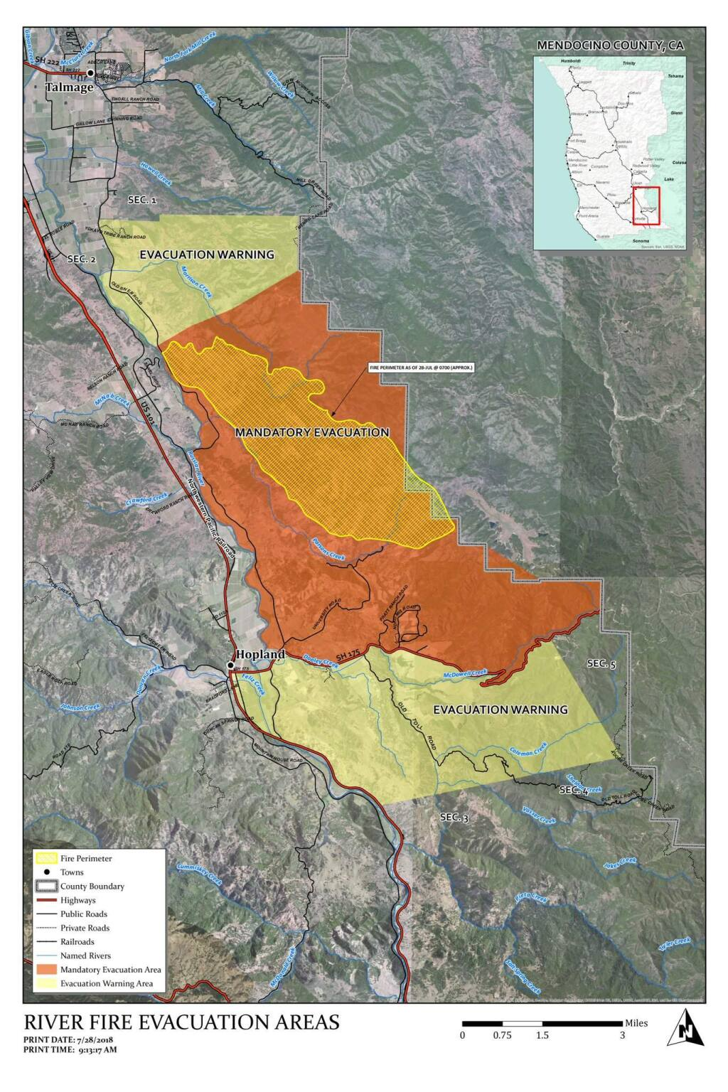 River fire evacutation map, Saturday, July 28, 2018. (Mendocino County Sheriff's Office)