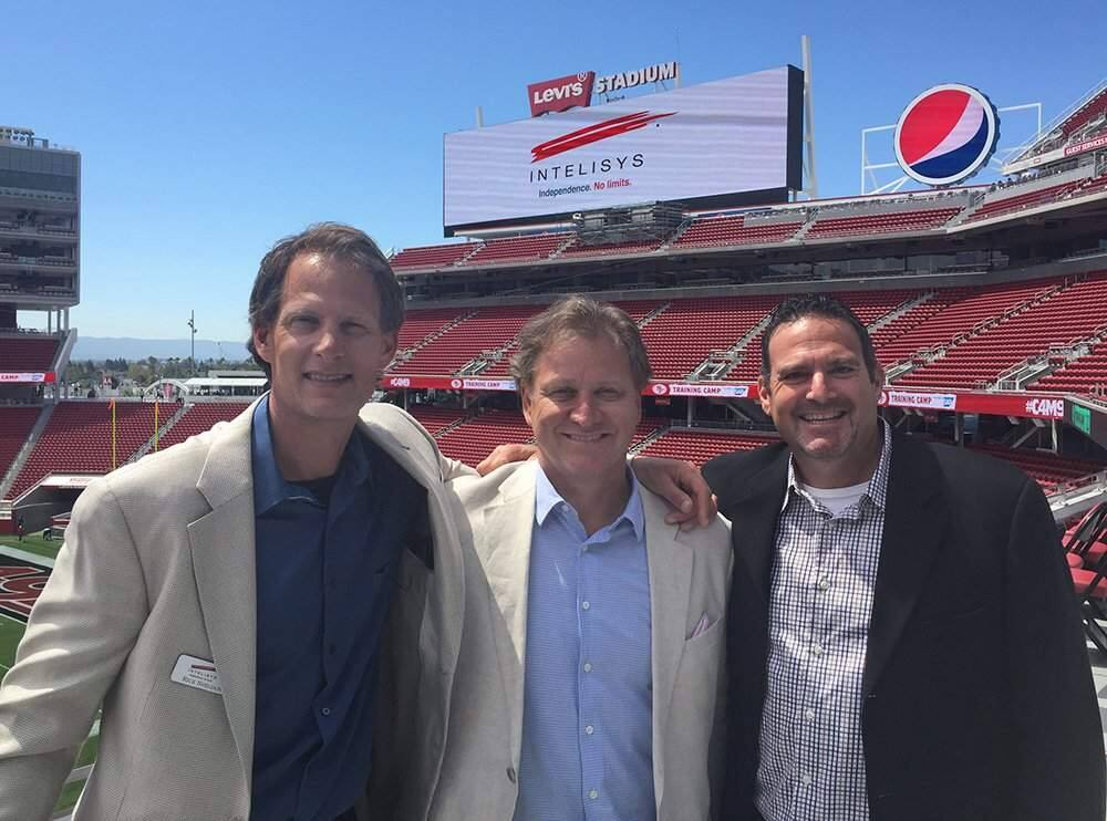 Petaluma-based Intelisys Communications co-founder Rick Sheldon, co-owner Dana Topping and co-founder Rick Dellar at Levi's Stadium in Santa Clara in August 2015. Sheldon and Dellar started the Petaluma company in 1994. Topping joined in 2006. (INTELISYS.COM)