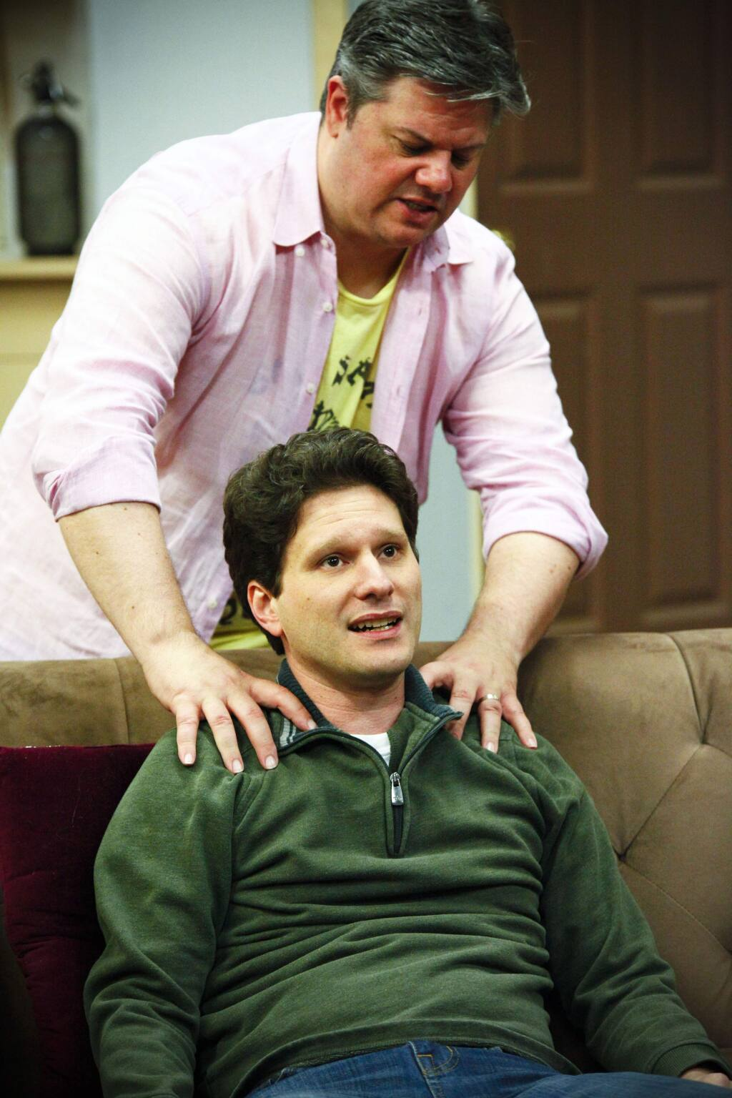 Petaluma, CA, USA. Wednesday, March 22, 2017._ Nathan Cummings (standing) as 'Oscar Madison' and Aaron Wilton as 'Felix Unger' at rehearsal for the production of 'The Odd Couple' at the Cinnabar Theatre. (CRISSY PASCUAL/ARGUS-COURIER STAFF)