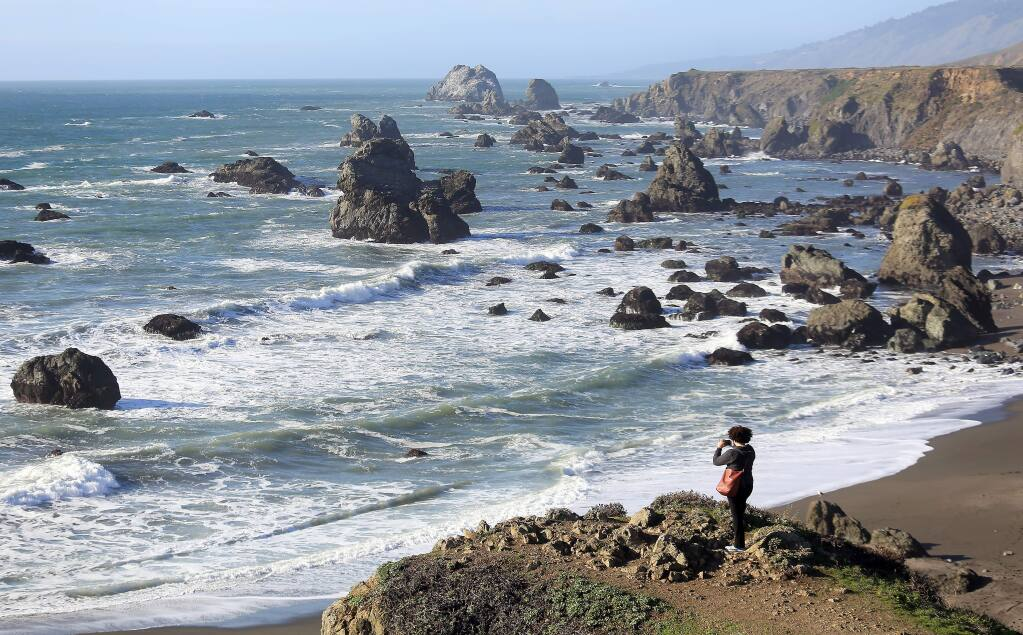 Kamilah Motley of Washington, D.C., takes in the sweeping view of the Sonoma Coast, north of Bodega Bay, Monday Jan. 20, 2015. (Kent Porter / Press Democrat)