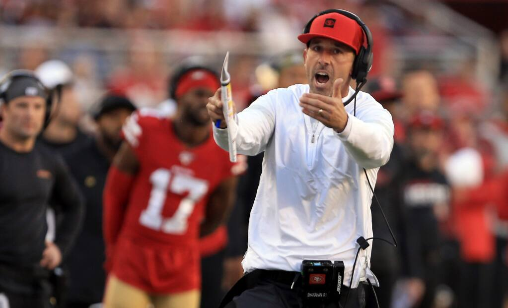Kyle Shanahan calls time out in the fourth quarter during San Francisco's 36-26 win over Arizona, Sunday, Nov. 17, 2019 in Santa Clara. (Kent Porter / The Press Democrat) 2019