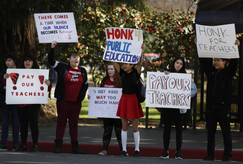 Healdsburg High School students stage a walk-out in protest of HUSD teachers salaries, being only 85% of the state average. Photo taken in Healdsburg on Wednesday, February 19, 2020. (BETH SCHLANKER/ The Press Democrat)